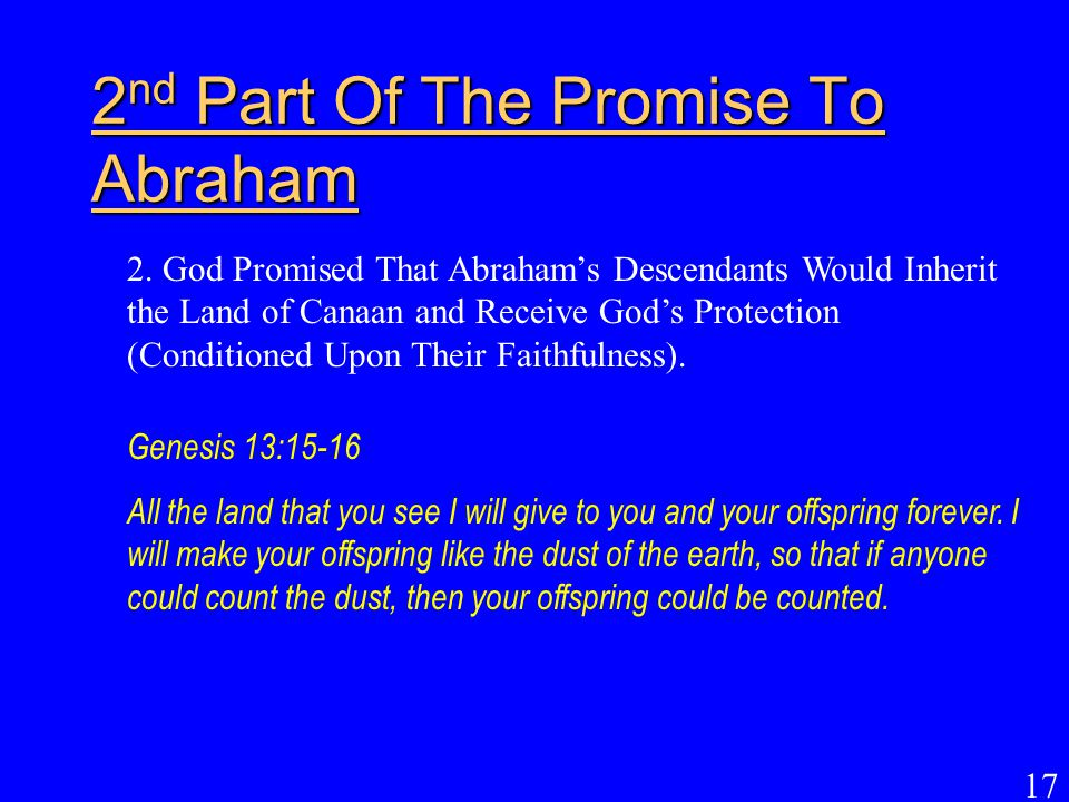 2nd Part Of The Promise To Abraham
