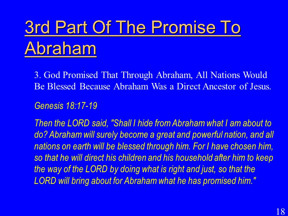 3rd Part Of The Promise To Abraham