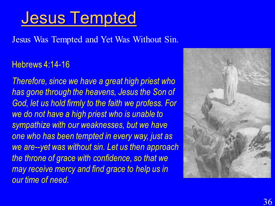 Jesus Tempted Jesus Was Tempted and Yet Was Without Sin.