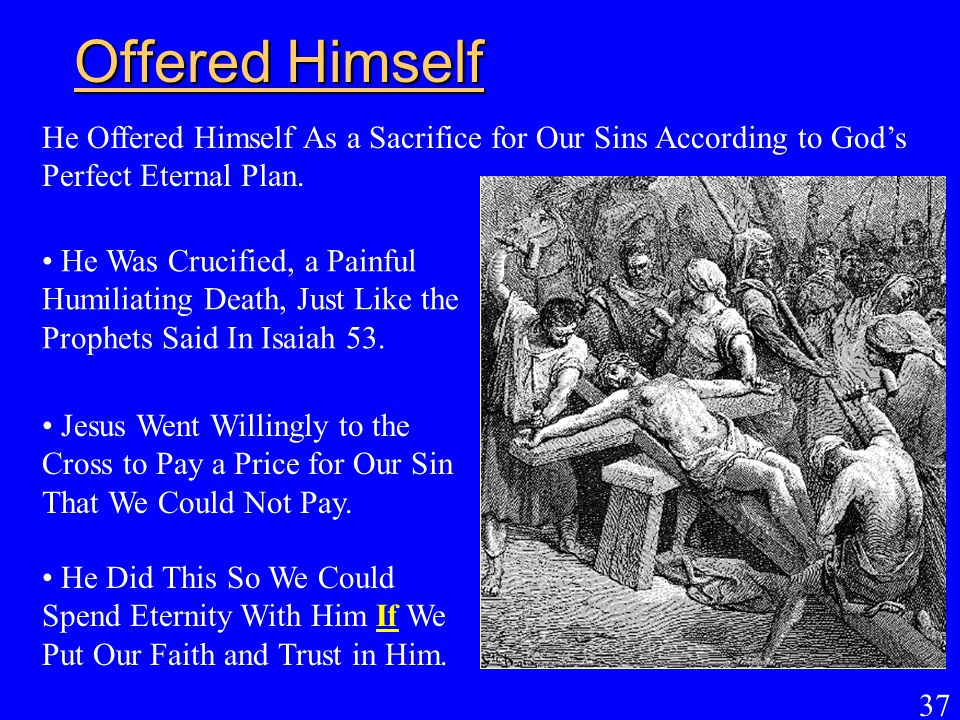 Offered Himself He Offered Himself As a Sacrifice for Our Sins According to God's Perfect Eternal Plan.