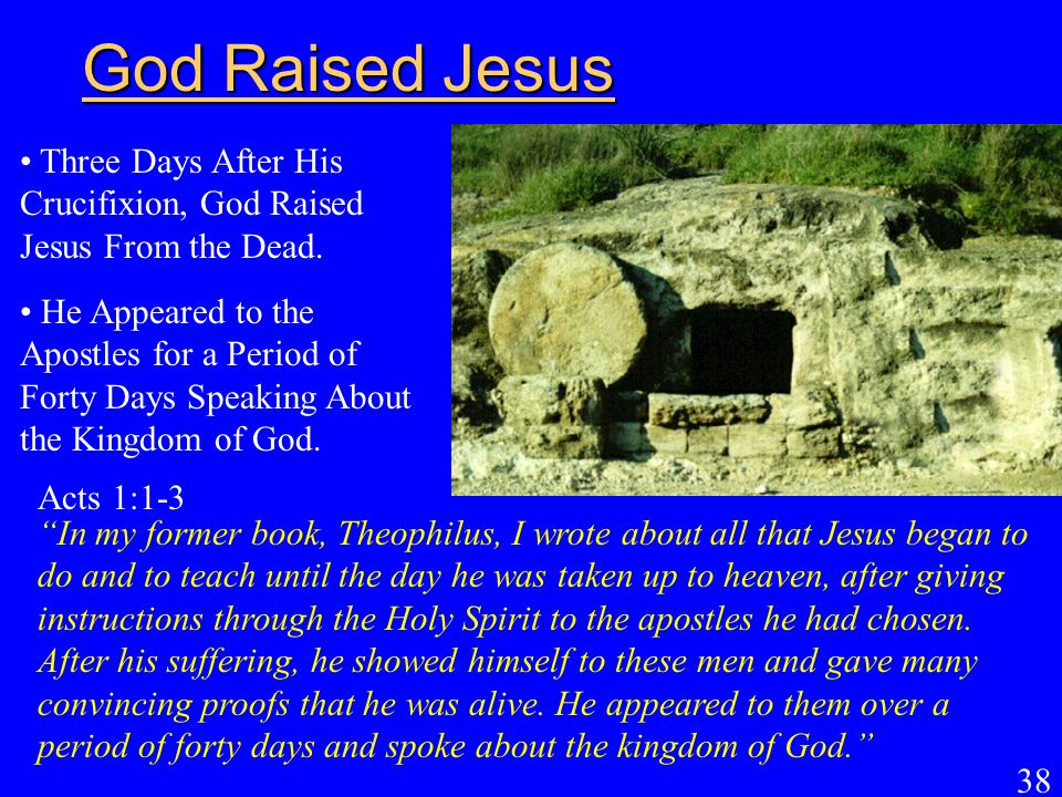 God Raised Jesus Three Days After His Crucifixion, God Raised Jesus From the Dead.