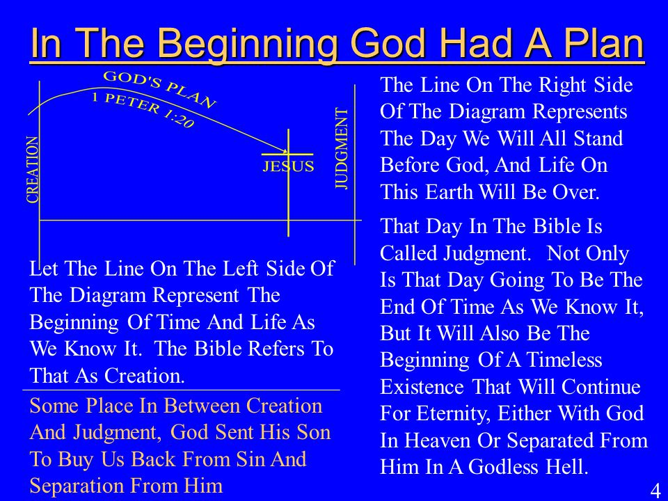 In The Beginning God Had A Plan