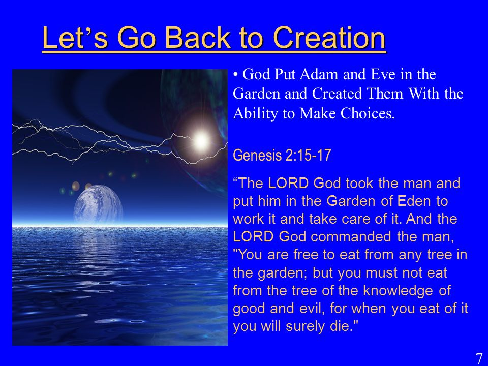 Let's Go Back to Creation