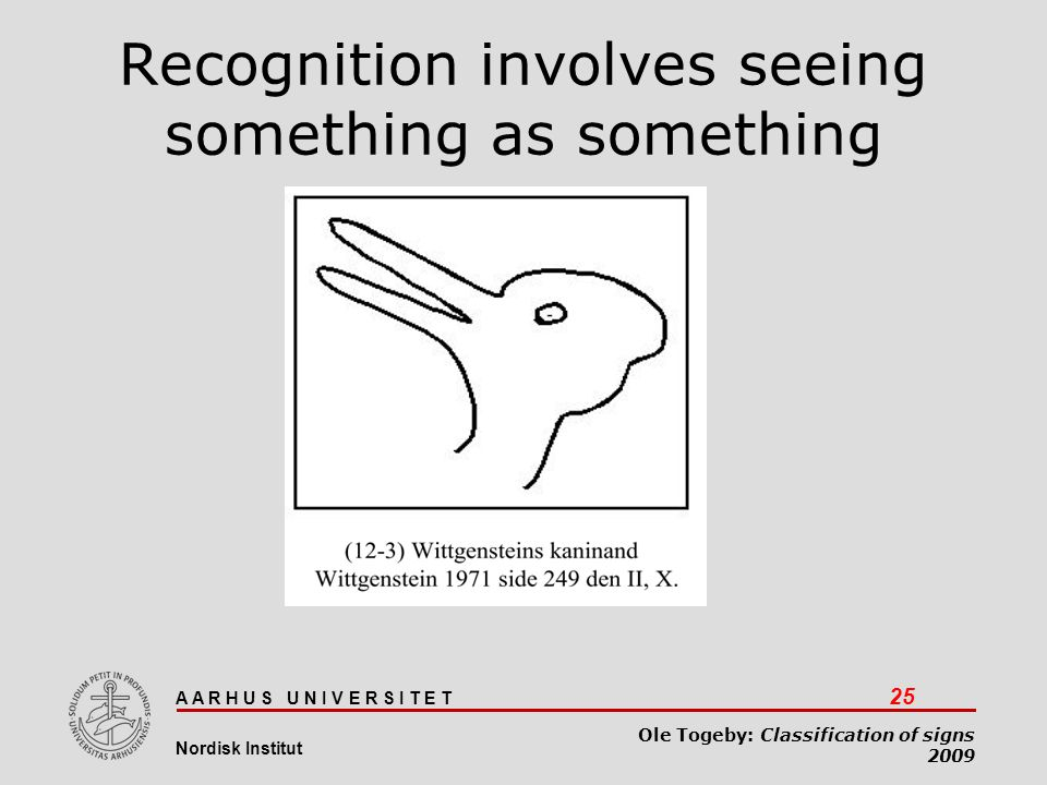 Recognition involves seeing something as something