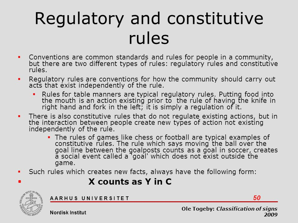 Regulatory and constitutive rules
