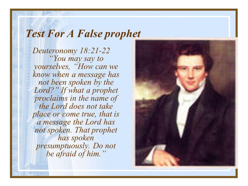 Test For A False prophet