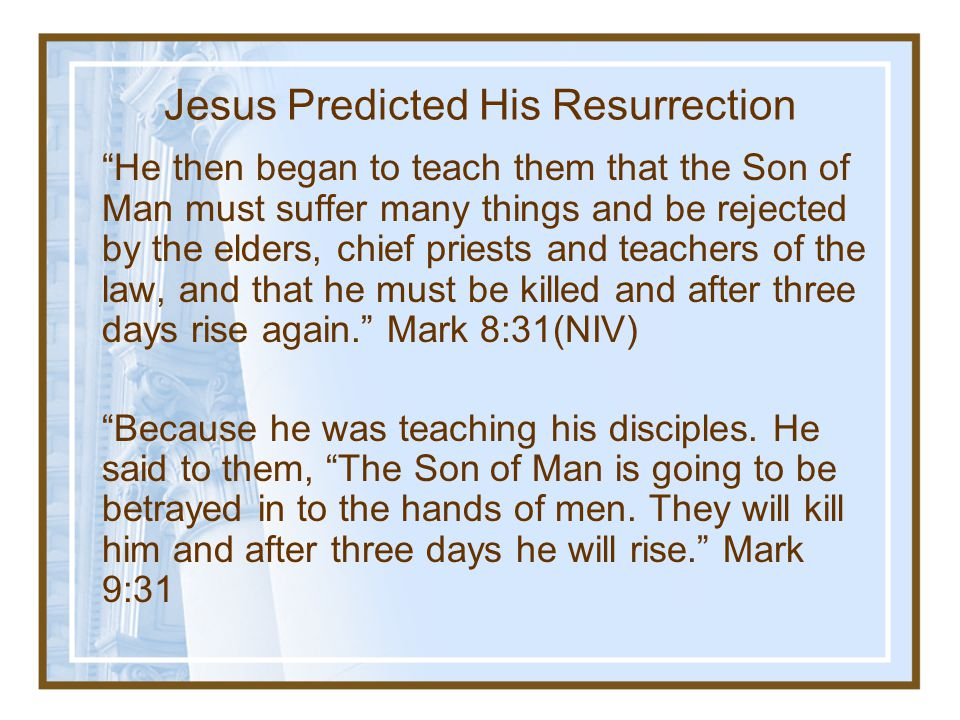 Jesus Predicted His Resurrection
