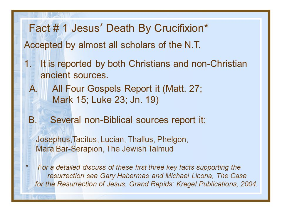 Fact # 1 Jesus' Death By Crucifixion*