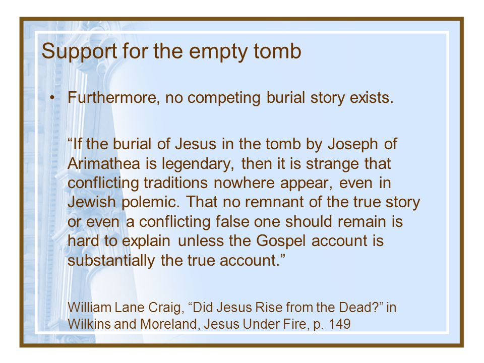 Support for the empty tomb