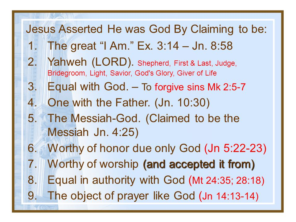 Jesus Asserted He was God By Claiming to be: