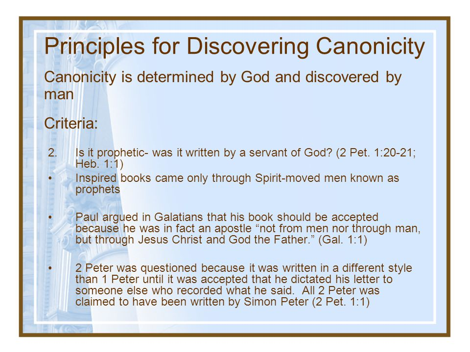 Principles for Discovering Canonicity
