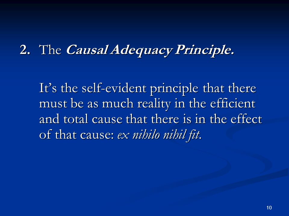 2. The Causal Adequacy Principle.