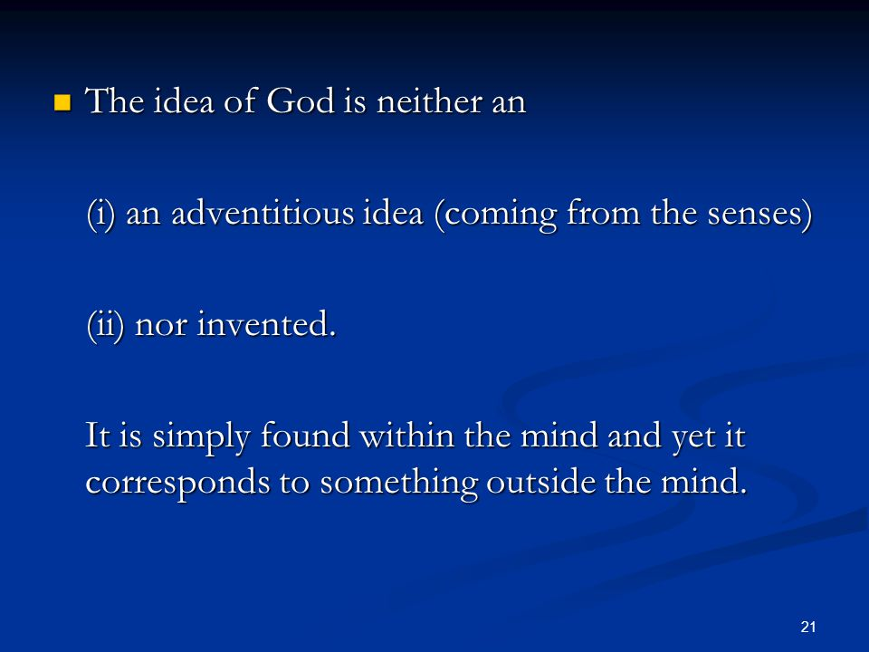 The idea of God is neither an