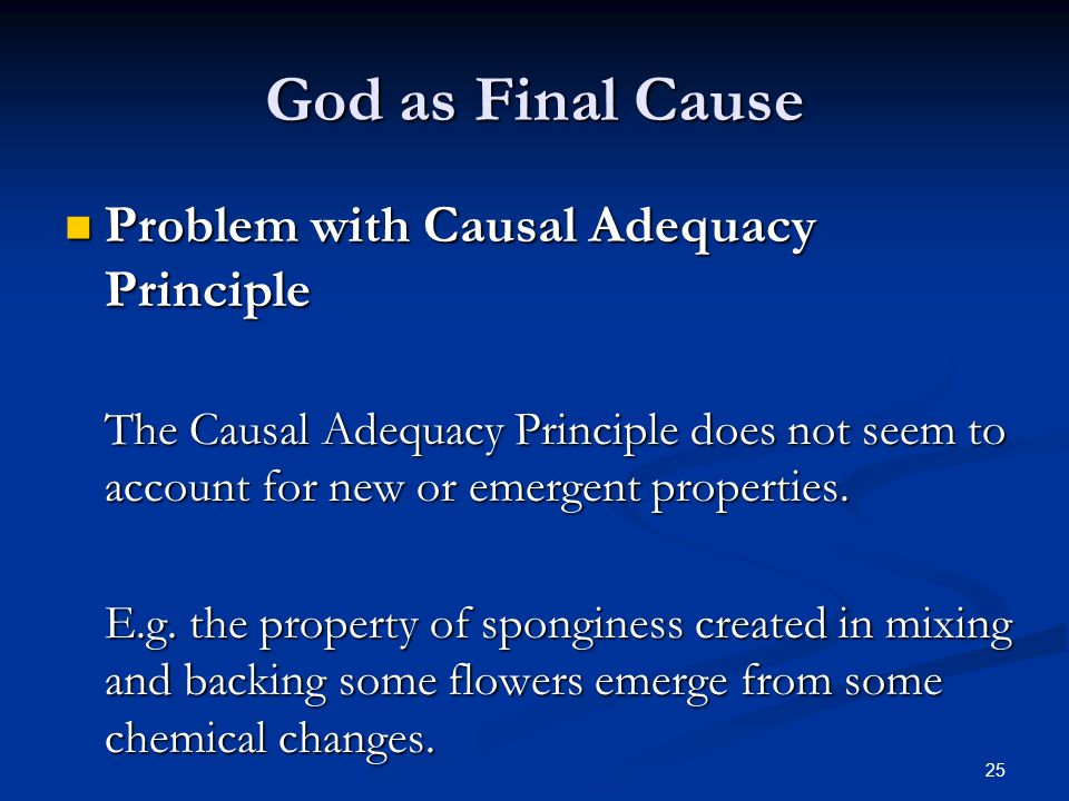 God as Final Cause Problem with Causal Adequacy Principle