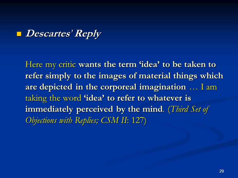 Descartes' Reply