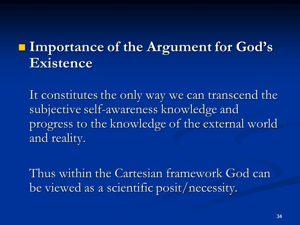 Importance of the Argument for God's Existence