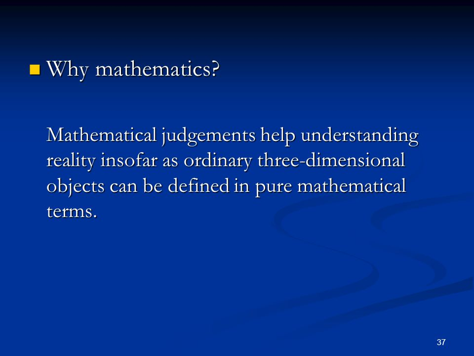 Why mathematics