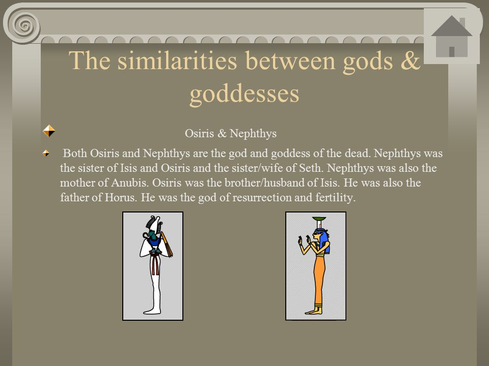 The similarities between gods & goddesses