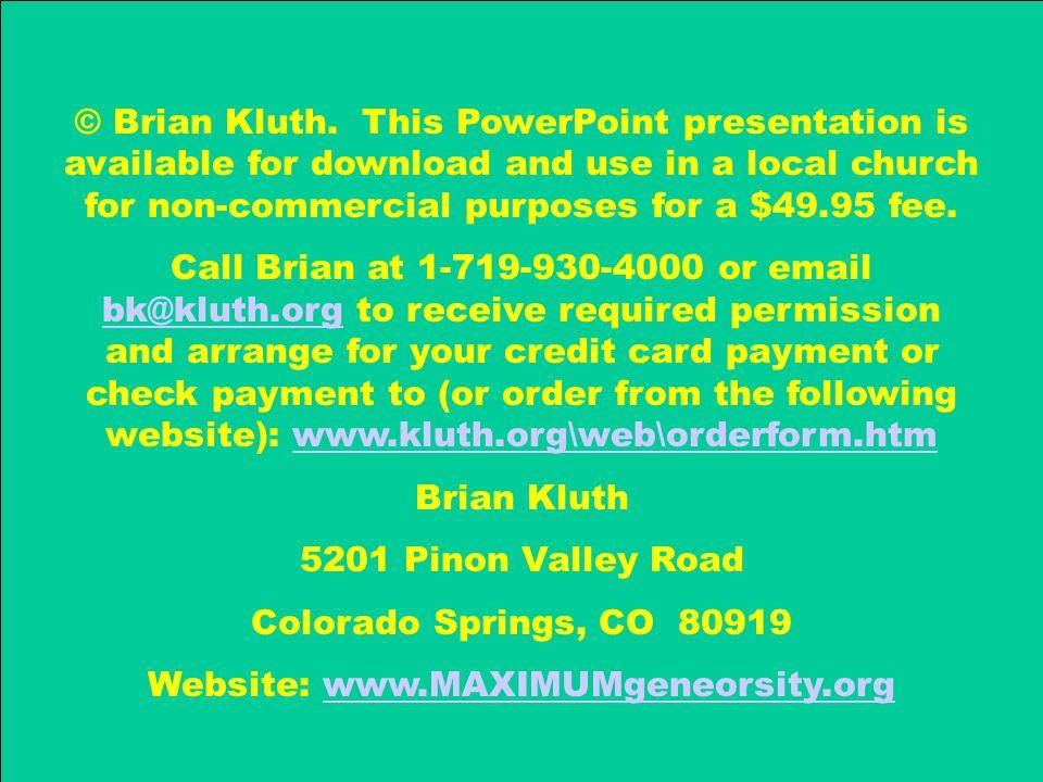 Website: www.MAXIMUMgeneorsity.org