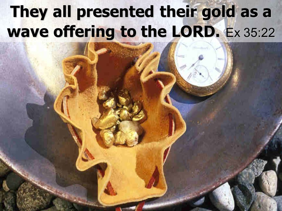 They all presented their gold as a wave offering to the LORD. Ex 35:22