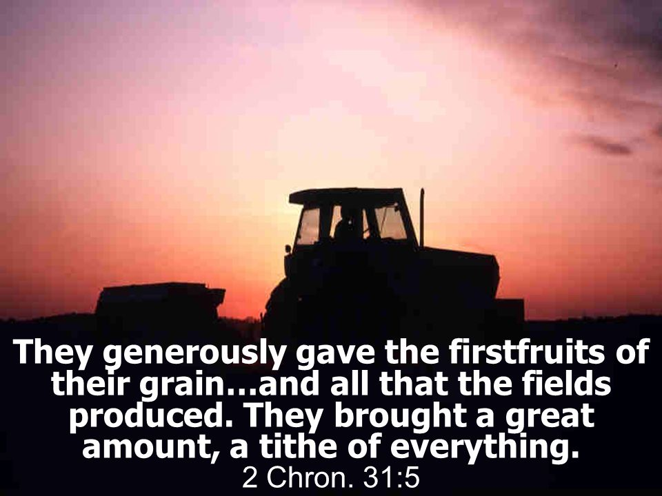 They generously gave the firstfruits of their grain…and all that the fields produced.