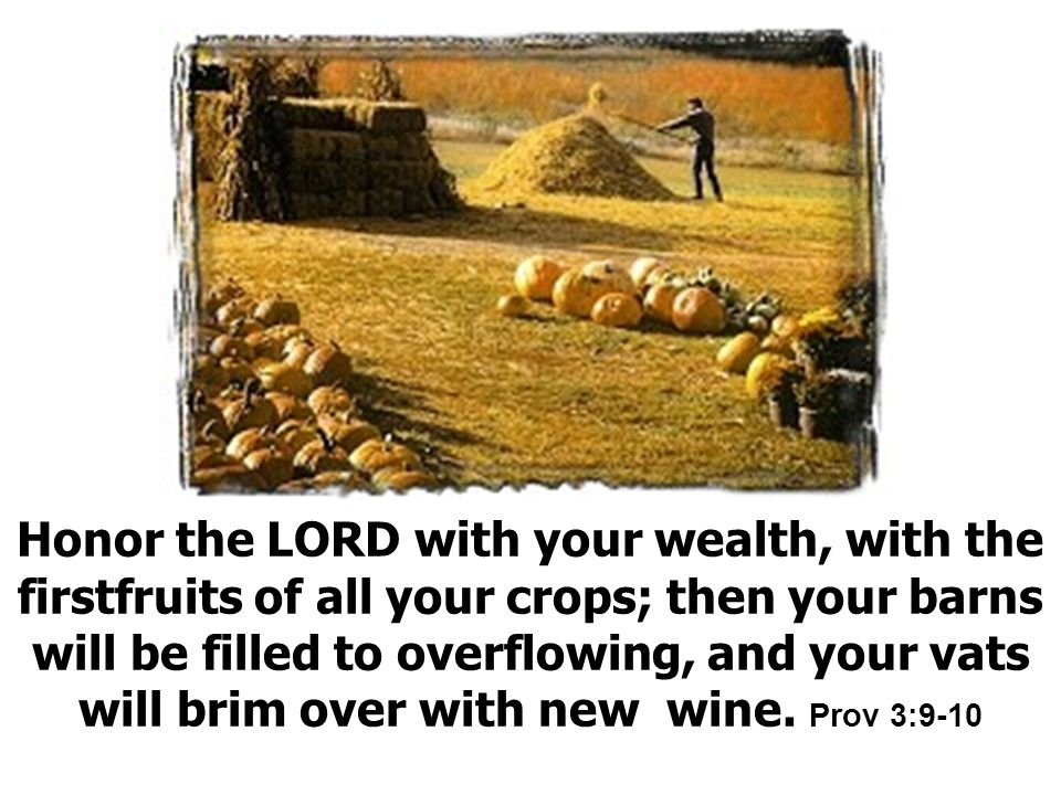 Honor the LORD with your wealth, with the firstfruits of all your crops; then your barns will be filled to overflowing, and your vats will brim over with new wine.