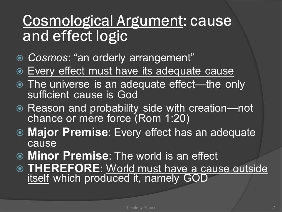 Cosmological Argument: cause and effect logic
