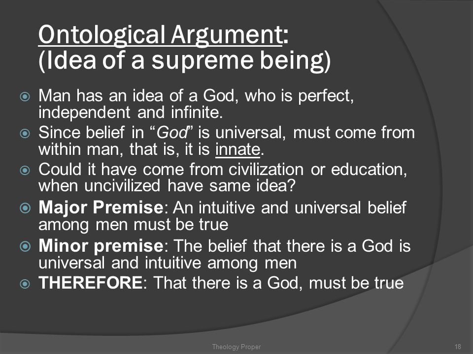 Ontological Argument: (Idea of a supreme being)