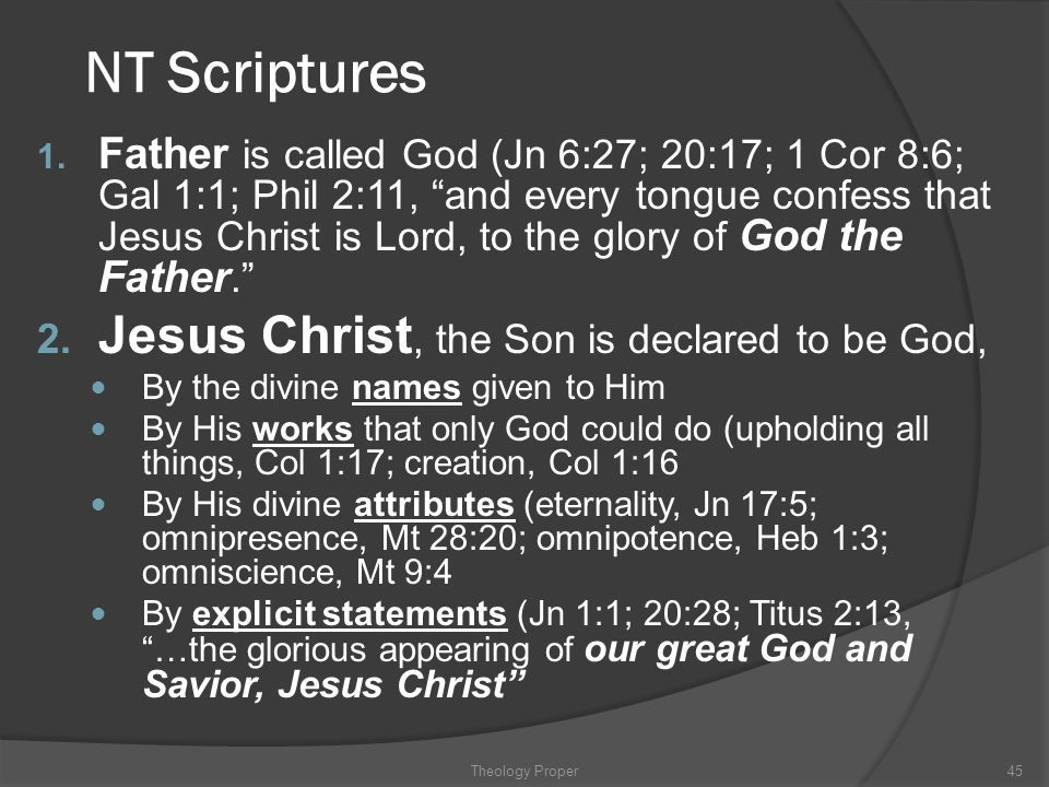 NT Scriptures Jesus Christ, the Son is declared to be God,