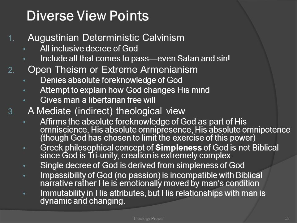 Diverse View Points Augustinian Deterministic Calvinism