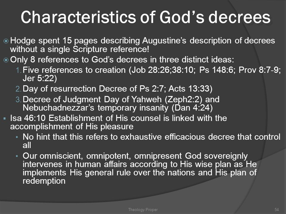Characteristics of God's decrees