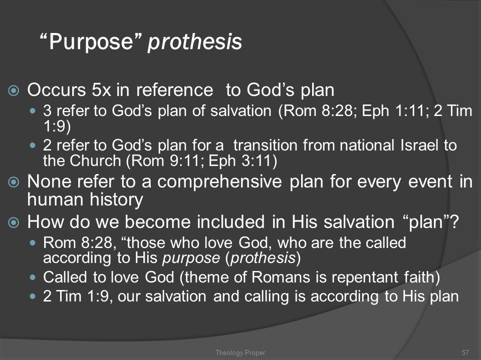 Purpose prothesis Occurs 5x in reference to God's plan