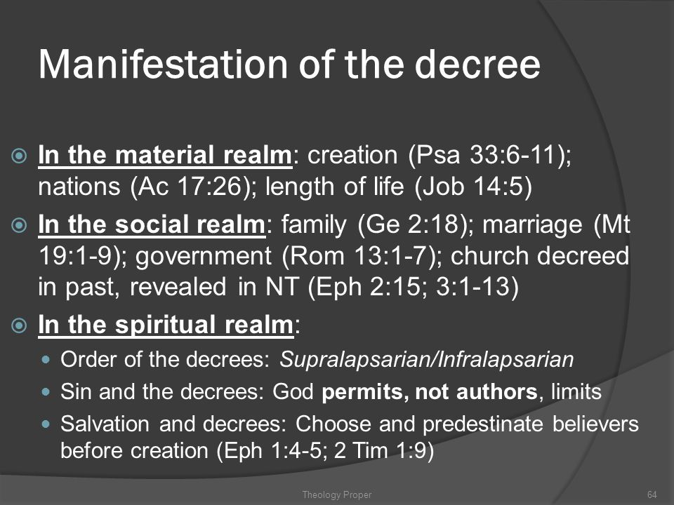 Manifestation of the decree