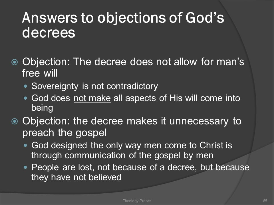 Answers to objections of God's decrees