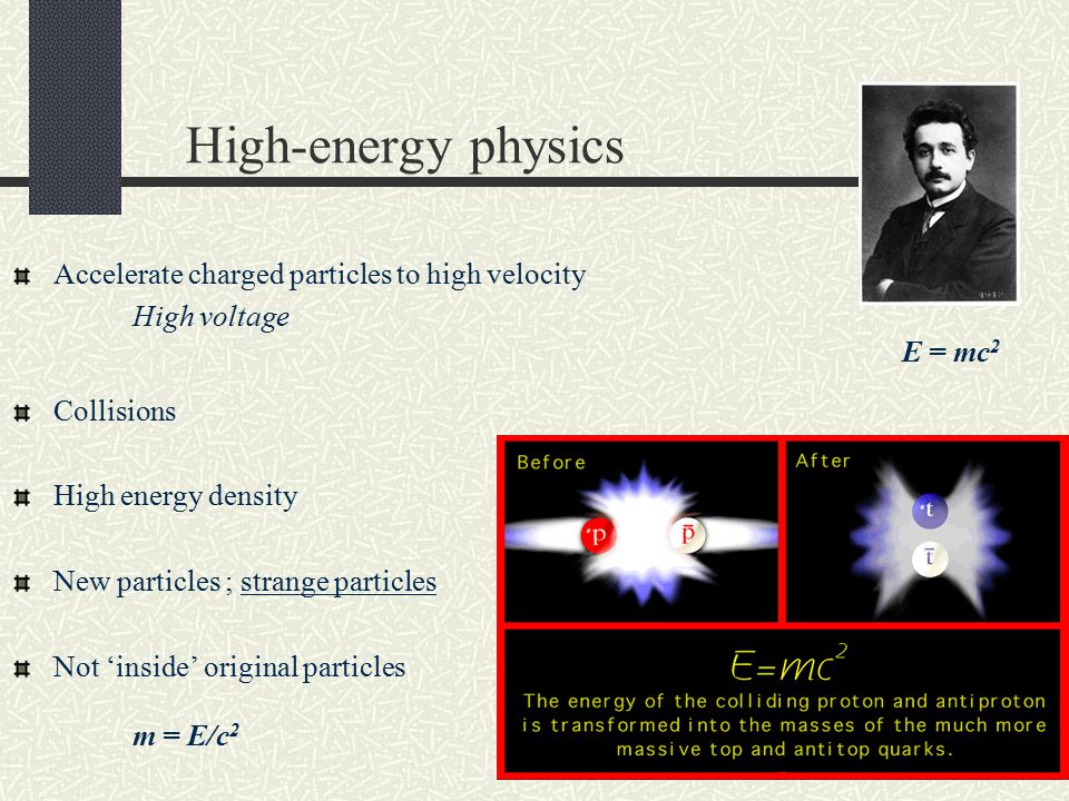 High-energy physics Accelerate charged particles to high velocity