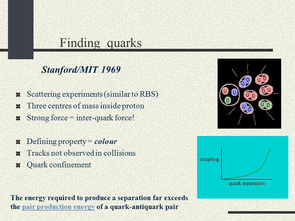Finding quarks Stanford/MIT 1969