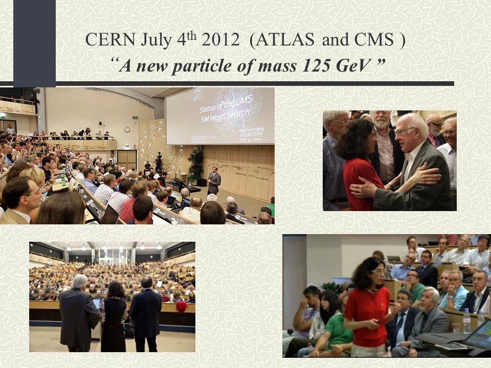 CERN July 4th 2012 (ATLAS and CMS ) A new particle of mass 125 GeV