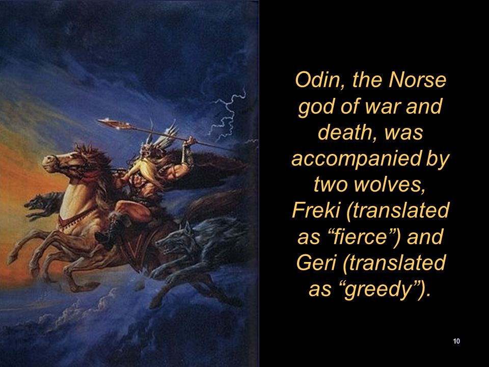 Odin, the Norse god of war and death, was accompanied by two wolves, Freki (translated as fierce ) and Geri (translated as greedy ).