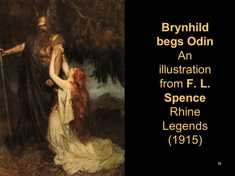 Brynhild begs Odin An illustration from F. L