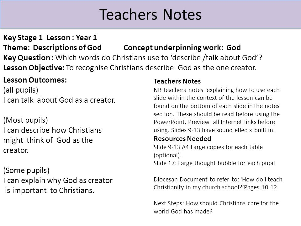 Teachers Notes