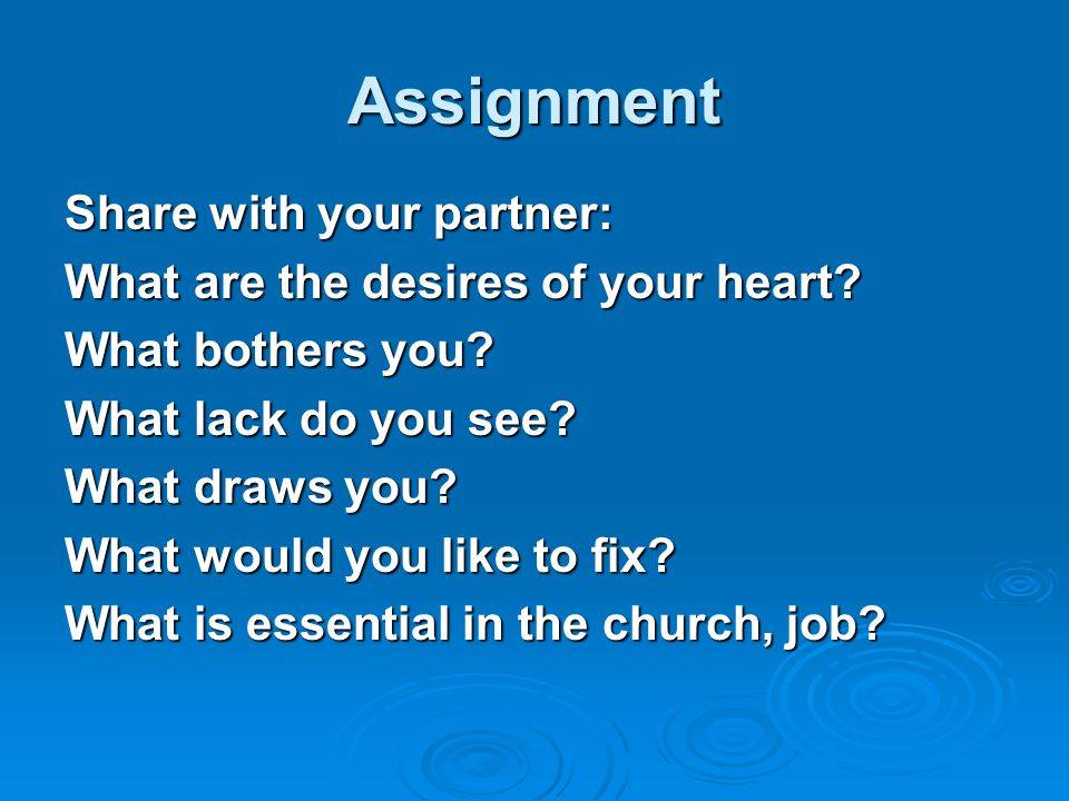 Assignment Share with your partner: