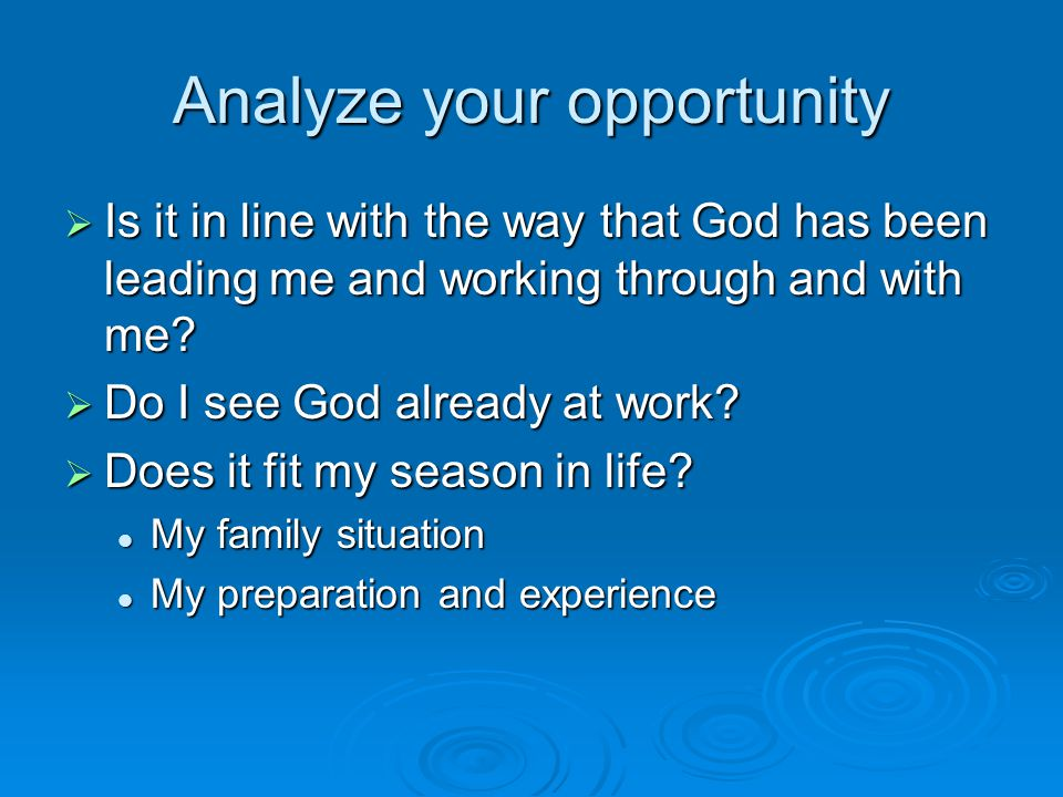 Analyze your opportunity