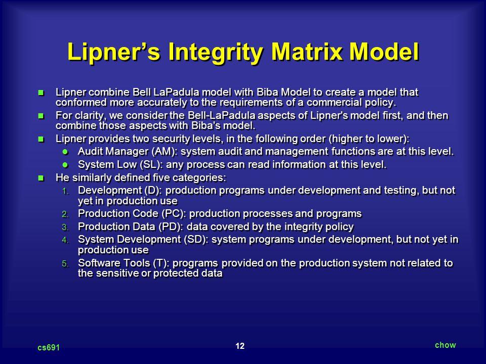 Lipner's Integrity Matrix Model
