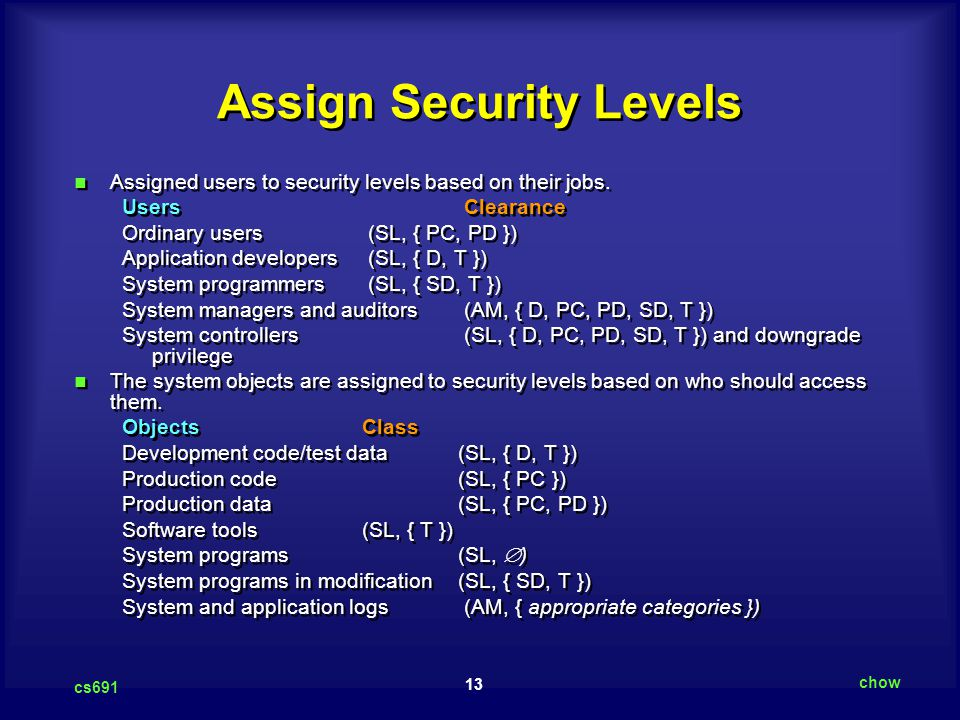 Assign Security Levels