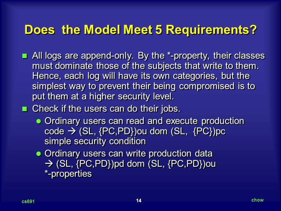 Does the Model Meet 5 Requirements