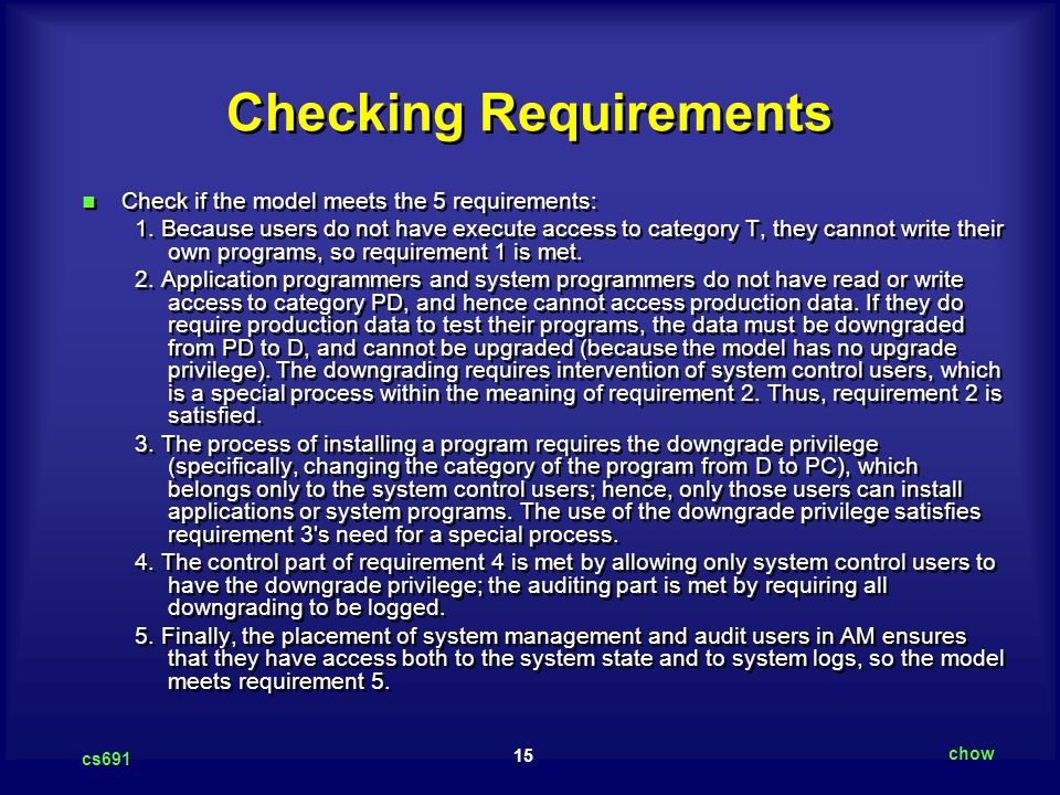 Checking Requirements