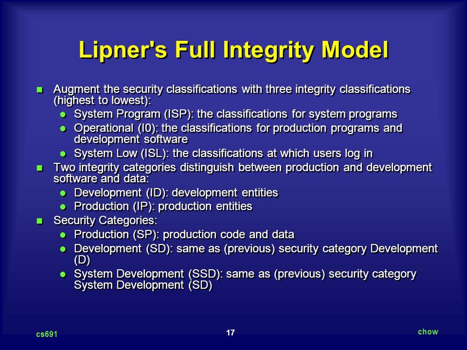 Lipner s Full Integrity Model