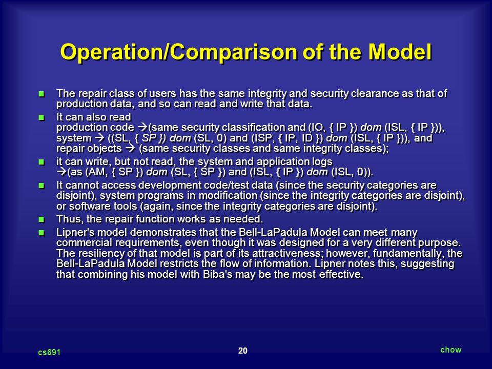 Operation/Comparison of the Model