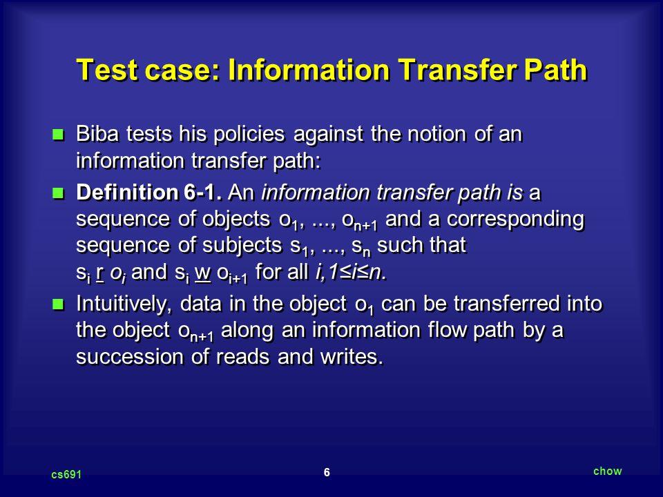 Test case: Information Transfer Path