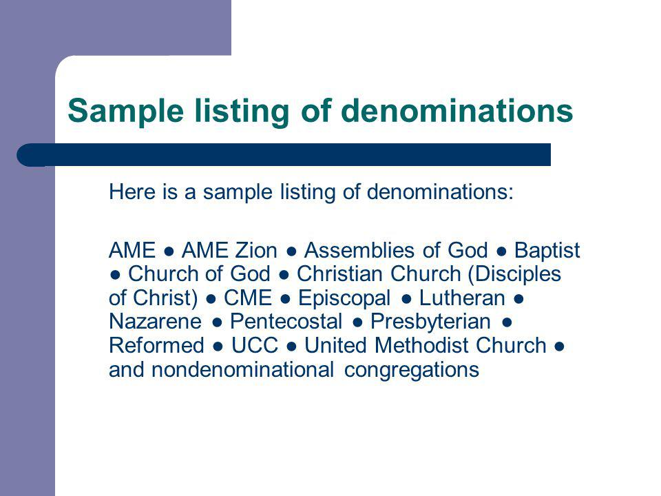 Sample listing of denominations